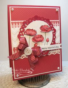 Pleasant Poppies, Doily Sizzlit, Egelits, Stitched Satin Ribbon  It's a Stamp Thing: Happy Valentine's Day