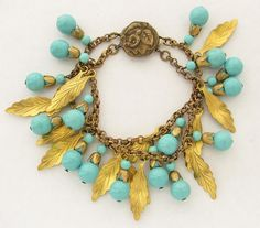 Vintage 1940s MIRIAM HASKELL Charm Bracelet Leaves & Turquoise Beads Unsigned #MiriamHaskell