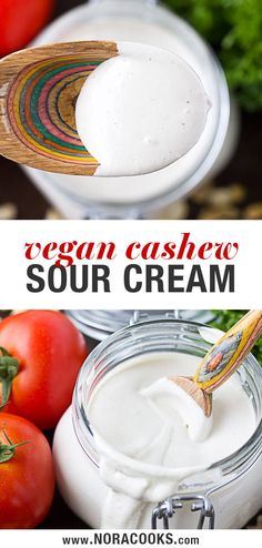 "Cashew Sour Cream- a staple vegan recipe. The perfect amount of ""sour"", and deli. Cashew Sour Cream- a staple vegan recipe. The perfect amount of ""sour"", and deliciously rich and creamy. Vegan Cheese Recipes, Raw Vegan Recipes, Vegan Foods, Vegan Snacks, Vegan Dishes, Vegan Vegetarian, Vegan Raw, Ketchup, Sauces"