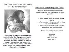 The Truth about Who You Really Are - 10 Day Challenge- would be a good Divine Nature value project to do with my girls