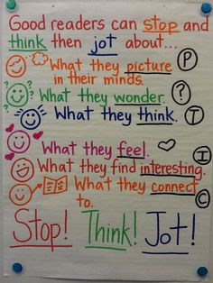 Ela anchor charts: stop and jot reading lessons, reading resources, reading Reading Lessons, Reading Strategies, Reading Skills, Teaching Reading, Reading Comprehension, Guided Reading, Close Reading, Reading Buddies, Reading Logs