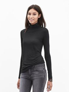 Modal Turtleneck.    I would buy this in a M for extra slouchy-ness.