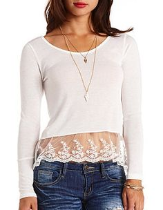 Scalloped Lace-Trim Long Sleeve Top: Charlotte Russe