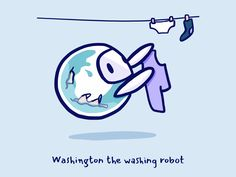 Washington the washing robot Robots Characters, Disney Characters, Fictional Characters, Saint Charles, Show And Tell, Smurfs, Vancouver, Original Artwork, Washington
