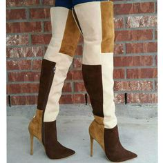 Amazing Colorblock Thigh High Boots