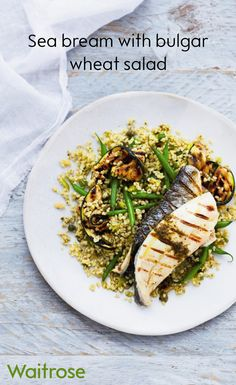 Enjoy our recipe for sea bream with bulgar wheat salad – it's a great recipe for the barbecue! Find more barbecue recipes on the Waitrose website. Uk Recipes, Diabetic Recipes, Fish Recipes, Summer Recipes, Seafood Recipes, Dinner Recipes, Healthy Recipes, Healthy Lunches, Healthy Foods To Eat