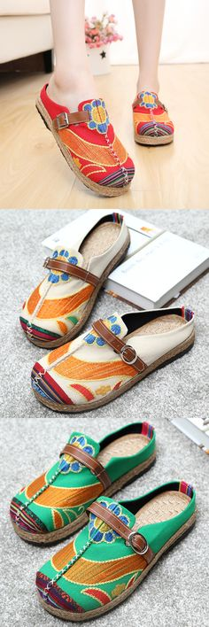 US$19.32 Embroidered Backless Loafers For Women_Color Folk Style Slip On Flats_Casual Summer Sandals
