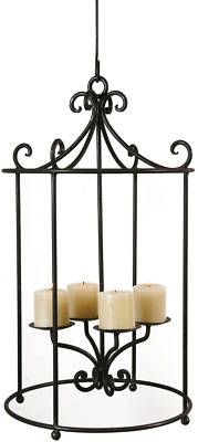 Round Scroll Wrought Iron Hanging Candle Holder Chandelier Indoor Outdoor