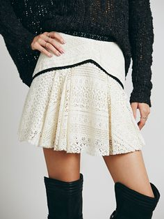 Free People White Lace Mini Skirt available for $98.00