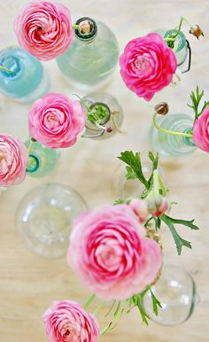 pink ranunculus flowers for table decorating / tablescaping in vintage bottles