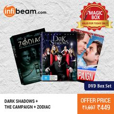 DEAL OF THE DAY ! DVD Box Set( Dark Shadows + The Campaign + Zodiac) at Lowest Rate from Infibeam's MagicBox ! #MagicBox #Deals #DealOfTheDay #Offer #Discount #LowestRates #DVD #Movies #BoxSet
