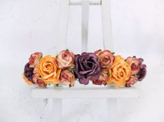 Fall flower crown - yellow plum floral hair wreath - flower girl crown - wedding headpiece - flower hair accessories - hair garland