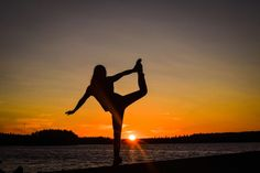 Doing some yoga moves during sunset in sääksjärvi.