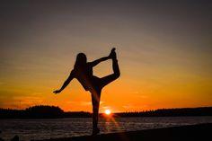 Doing some yoga moves during sunset in sääksjärvi.