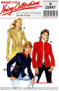 Sz 8 to 20 - Neue Mode Jacket Pattern - Misses' Button Front, Raised Collar Jacket in Three Options - Neue Mode Stil Young Collection Jumpsuit Pattern, Jacket Pattern, Types Of Patterns, Print Patterns, Pleated Pants, Mccalls Patterns, Vest Jacket, Good News, Vogue