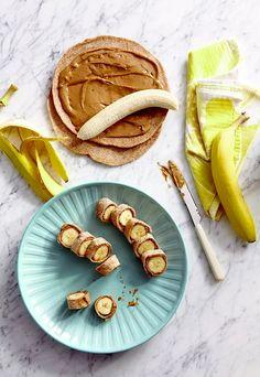 Banana Dog Bites - wheat tortillas banana and peanut butter. Yummy Snacks, Healthy Snacks, Snack Recipes, Yummy Food, Tasty, Road Trip Snacks, Travel Snacks, Road Trip Meals, Road Trips