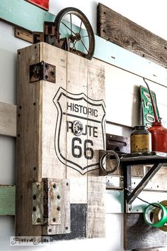 Historic Route 66 stencil with pallet wood storage cabinet. Workshop storage in style! Part of Funky Junk& Old Sign Stencils collection. Pallet Home Decor, Pallet Art, Diy Pallet, Funky Junk Interiors, Rustic Storage Cabinets, Workshop Cabinets, Wood Pallets, Pallet Wood, Sign Stencils