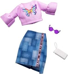 Barbie Complete Looks Butterfly Vintage Top & Patchwork Skirt Fashion Pack Barbie Doll Set, Doll Clothes Barbie, Barbie Toys, Barbie Dress, Vintage Tops, Vintage Skirt, Mattel Shop, Barbie Website, Accessoires Barbie