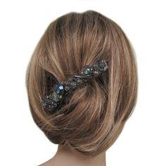 Barrette cheveux - bijou de cheveux - bleue - cantate