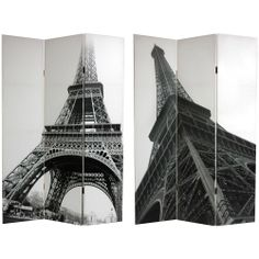 6 ft. Tall Double Sided Eiffel Tower Canvas Room Divider - OrientalFurniture.com