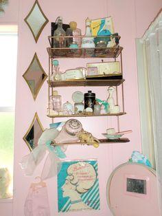 "My ""Ultra Girly"" Master Bathroom  Tags: Pink, Teal, Aqua, Poodles, Vintage, Retro, Pinup, 50s, Feminine, Powder Room, Diamonds"