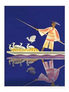 Birds and Boatman Kunst van Frank Mcintosh bij AllPosters.nl