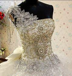 Gorgeous Crystal Embellished Wedding Dress And Irish Traveller Wedding Dress ~ For A Big Fat Gypsy Wedding. Big Wedding Dresses, Custom Wedding Dress, Designer Wedding Dresses, Prom Dresses, Couture Wedding Gowns, Bridal Gowns, My Big Fat Gypsy Wedding, Dream Wedding, Beautiful Bride