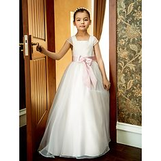 Formal Evening / Wedding Party / Vacation Dress - White A-line Square Ankle-length Organza – USD $ 64.99