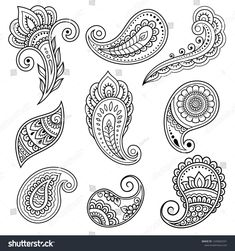 Set of Mehndi flower pattern for Henna drawing and tattoo. Decoration in ethnic oriental, Indian style. Set of Mehndi flower pattern for Henna drawing and tattoo. Decoration in ethnic oriental, Indian style. Pattern Tattoo, Beginner Henna Designs, Mehndi Art Designs, Paisley Tattoo, Henna Patterns, Mehndi Flower, Henna Drawings, Paisley Art, Simple Henna Patterns