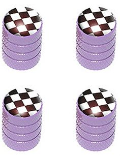 """(4 Count) Cool + Custom """"Diamond Etching Checkered Flag Top with Easy Grip Texture"""" Tire Wheel Rim Air Valve Stem Dust Cap Seal Made of Genuine Anodized Aluminum Metal {Purple, Black, + White Colors} mySimple Products http://www.amazon.com/dp/B013S29RB4/ref=cm_sw_r_pi_dp_KlfIwb0DMX5WY"""