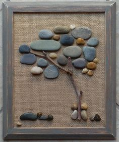 25 Attractive Wall Design with Wooden Frames to Make Your Empty Walls look Beautiful Decor, # Stone Crafts, Rock Crafts, Fun Crafts, Crafts With Rocks, Beach Rock Art, Pebble Art Family, Rock Design, Wall Design, Rock Painting Designs