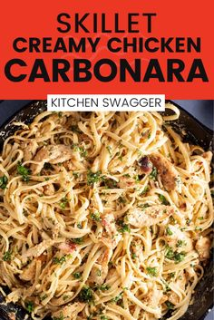 This chicken carbonara recipe is creamy, delicious and date-night worthy. It's inspired by a classic Italian (Roman) pasta dish made with bacon or pancetta, whisked egg, and hard cheese. Thanks to the bacon, it smells amazing and will rock your world! Creamy Chicken Carbonara, Creamy Pasta, Carbonara Sauce, Beef Recipes, Italian Recipes, Yummy Recipes, Chicken Recipes, Seafood Pasta Recipes, Pasta Dinner Recipes