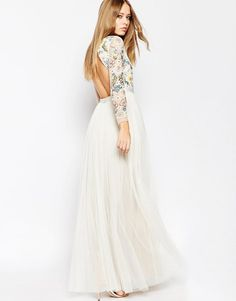 Image 2 of Needle & Thread Backless Sheer Sleeve Tulle Embellished Maxi Dress