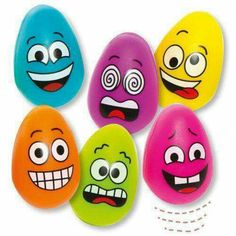 Funky Face Egg Bouncy Balls - Bakerross Buy Funky Face Egg Bouncy Balls at Baker Ross. Egg shaped bouncy balls, ideal for gifts or party bags. Rock Painting Patterns, Rock Painting Ideas Easy, Rock Painting Designs, Pebble Painting, Pebble Art, Stone Painting, Stone Crafts, Rock Crafts, Arts And Crafts