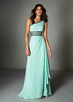 Atos Style Aqua dress in chiffon with one-shoulder neckline lined in dark beading and unique, triple-layer, beaded waistline. From Pronovias. The Dress, Dress For You, Evening Dresses, Prom Dresses, Formal Dresses, Glamour, Stretch Satin, Navy Blue Dresses, Colorful Fashion