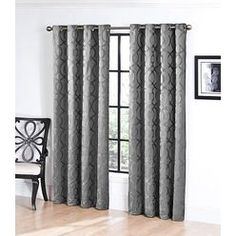 Superior Jacquard Grommet Top Single Curtain Panel   Sears