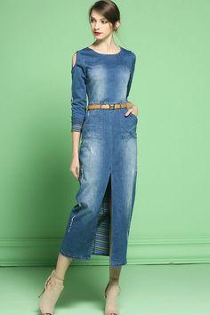 Denim Maxi Dress, Maxi Dress With Slit, Denim Outfit, Vogue Fashion, Denim Fashion, Looks Total Jeans, Amo Jeans, Party Wear Frocks, Diy Fashion No Sew