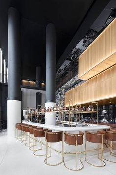 Image 50 of 58 from gallery of Hotel Monville / ACDF Architecture. Photograph by Adrien Williams Lobby Bar, Hotel Lobby, Bar Interior, Restaurant Interior Design, Hotel Interiors, Office Interiors, Deco Restaurant, Luxury Bar, Column Design