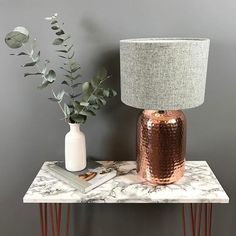 We've been photographing some great grey, copper, and marble colour combos today! Copper And Marble Bedroom, Copper And Grey Living Room, Copper And Grey Kitchen, Grey And Gold Bedroom, Silver Bedroom, Living Room Ideas Rose Gold, Blush Living Room, Table Lamp Base, Lamp Bases