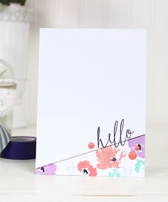 Modern Hello card by Dawn Woleslagle for Wplus9 featuring the Watercolored Anemones stamp set.