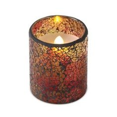 Decorative mosaic glass holder done in rustic fall colors  Flameles...