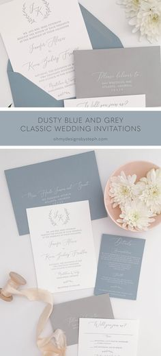 Dusty Blue and Grey Wedding Invitations with a classic feel - featuring a custom monogram, mix and match envelopes, and white ink printing. Customize these to match YOUR wedding vibe!