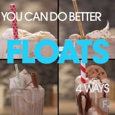 You Can Do Better: Floats 4 Ways (Chocolate Milkshake Drawing) Dessert Drinks, Yummy Drinks, Delicious Desserts, Dessert Recipes, Yummy Food, Tasty Videos, Food Videos, Ice Cream Floats, Milkshake Recipes