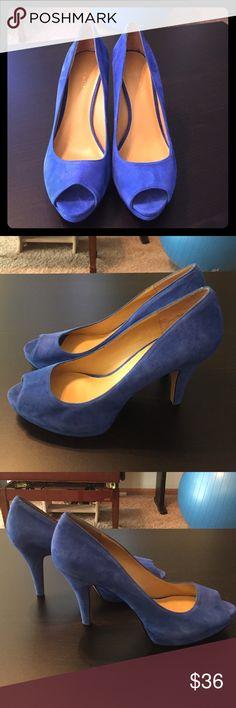 Sale!  Nine West Blue Suede Peeptoe Heels Nine West Cobalt Blue Suede Platform Peeptoe Heels, EUC, very little wear on heel taps. Clean inside socks, beautiful color! 4 1/4 inch heel, 3/4 inch platform. Nine West Shoes Heels