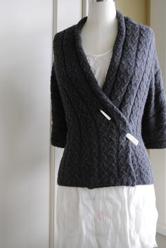 Slip Stitch Cable Wrap Cardigan by Monica Welle Brown (front view) - free