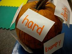 "Placing cards with the adjectives ON the pumpkin would motivate the kids. All you have to say is, ""I wonder if we can cover the pumpkin with words that describe it..."""