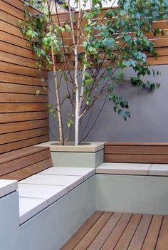 Contemporary garden seating and planting. contemporary garden seating and planting small Small Garden Design, Patio Design, Courtyard Design, Urban Garden Design, Courtyard Gardens, Ideas Terraza, Planter Bench, Outdoor Seating, Outdoor Decor