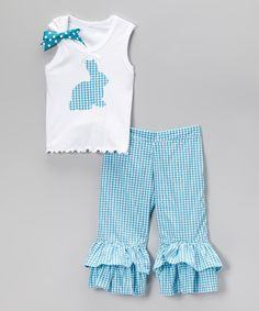 Look what I found on #zulily! Beary Basics Turquoise Bunny Tank & Ruffle Pants - Infant, Toddler & Girls by Beary Basics #zulilyfinds