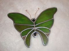 "Nice 10"" Leaded Stained Glass Green Butterfly Suncatcher Home Decor"