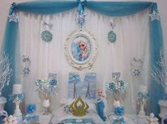 Pretty dessert table at a Frozen birthday party! See more party ideas at CatchMyParty.com!